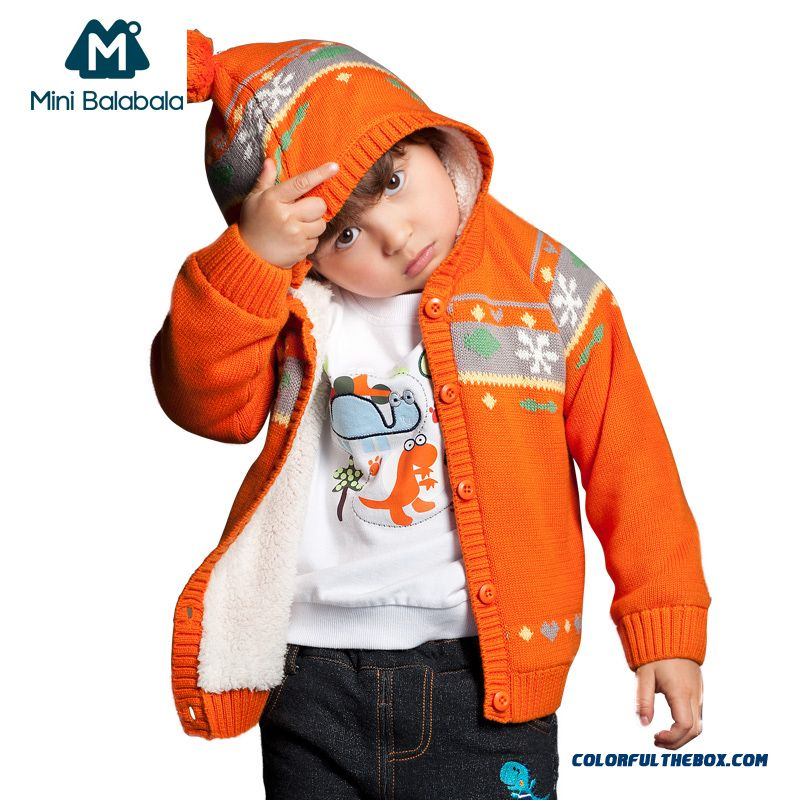 Mini Balabala Boy Kids' Baby Cashmere Sweater Knit Cardigan Grey Orange