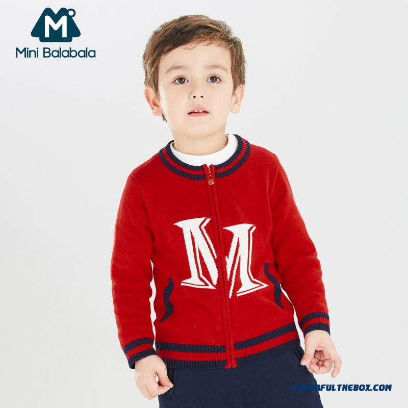 Mini Balabala Spring New Baby Kids Boys Knit Sweater Cardigan Jacket Red Deep Blue Color
