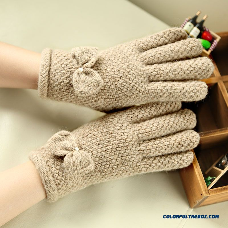 Mismemo Brand Lady Women Autumn And Winter Wool Knitted Gloves Full Finger Thick Warm Five Fingers Bow-knot