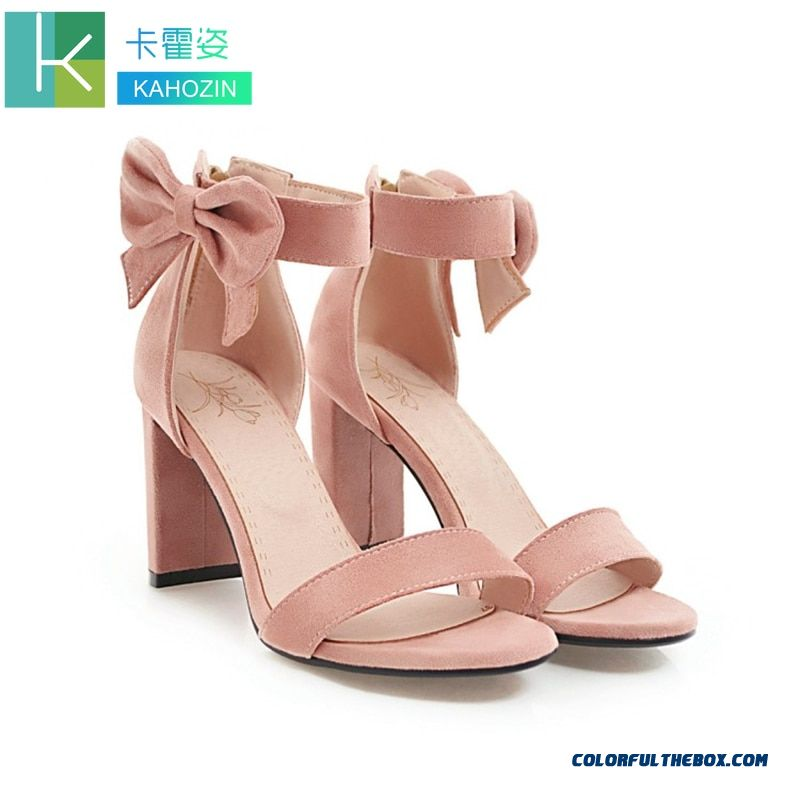 Modis Summer 2019 Women Shoes Fenty Beauty Ayakkabi Bow-knot Pink Casual Sandals Shoes Chaussures Zipper High Quality Suede