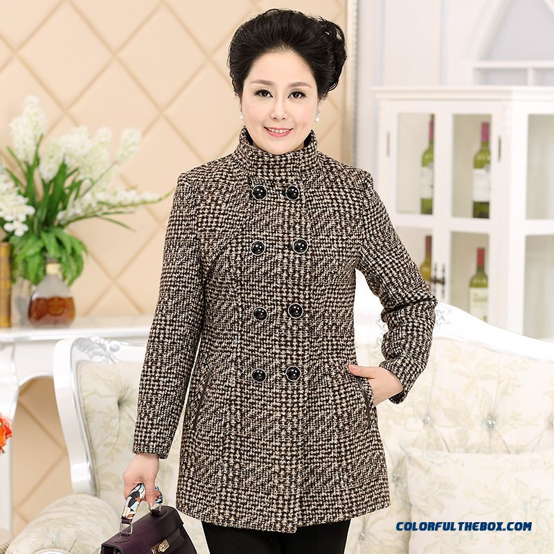 Mother Dclothing Autumn And Winter Double-breasted Coat Medium-long Slim Thick Woolen Outer Wear