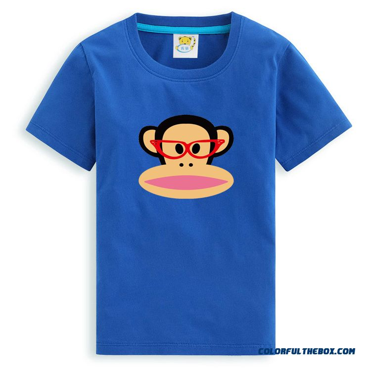 Mouth Monkey Wearing Red Frame Glasses New Kids Clothing Boys Suits Summer T-shirt