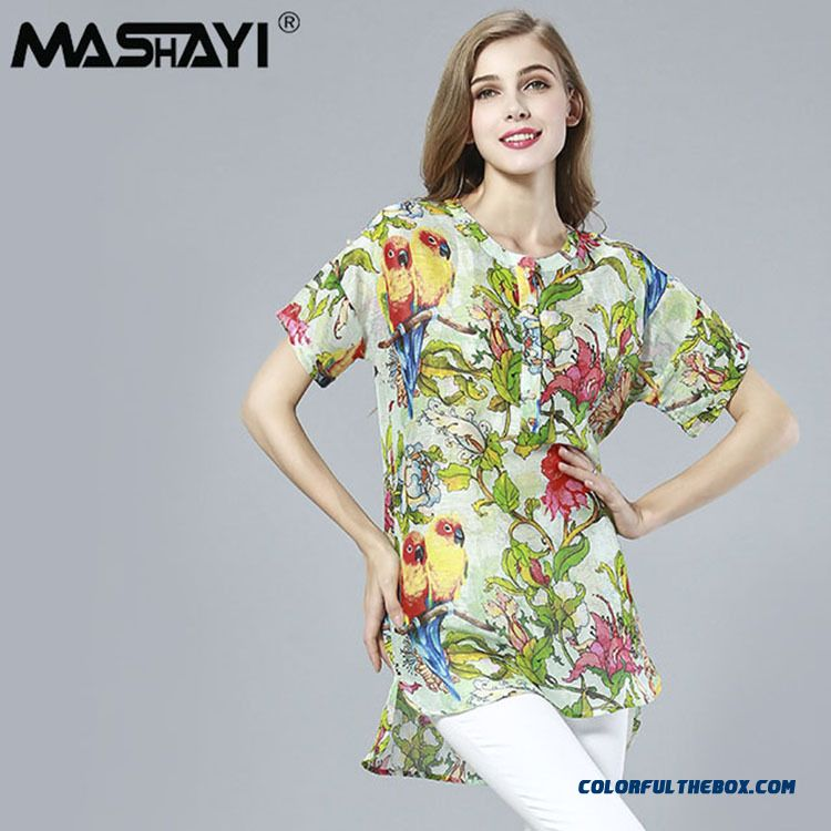Mulberry Silk Printing Ink Floral Literature And Art Shirt Blouses Women