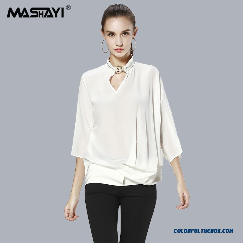 Cheap Mulberry Silk Shirt Three Quarter Sleeve Blouses Shirts For ...