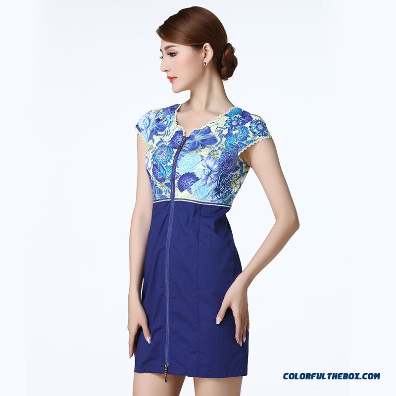Multi-color Stitching Short-sleeved Zipper Design Dress For Women