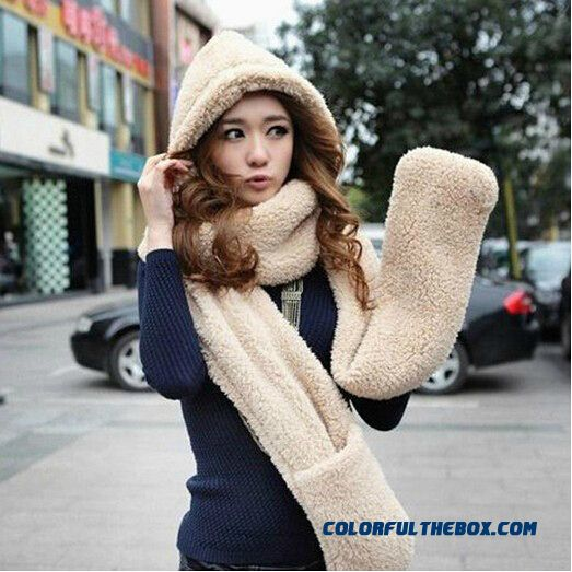 Multifunctional Design Of Women Ladies Double Thick Winter Wool Scarves Lovely Scarf Hat Gloves Integrally
