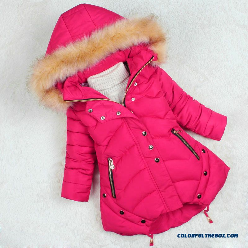 Nagymaros Collar Coat 2015 Kids Girls Medium-long Thick Winter Coat F57 For Kids - more images 2