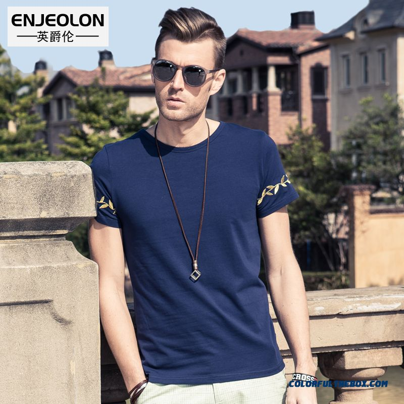 National Embroidered Cotton Crew Neck Short Sleeve Tees Men Short-sleeved Fashion