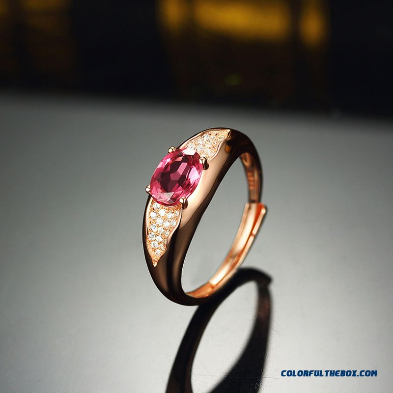 Natural Colored Gemstone Rings Tourmalines Ring Micro Pave Zircon Christmas Women First Choose Fine Jewelry