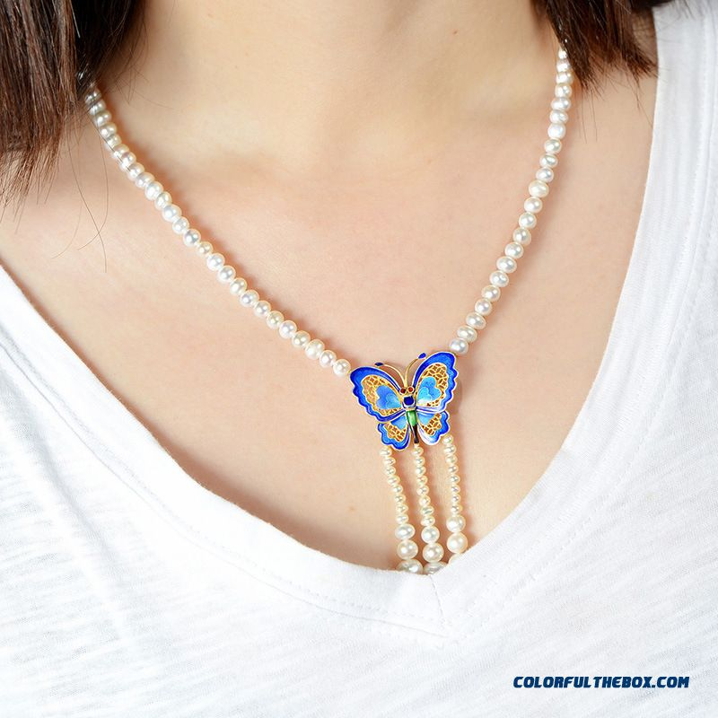 Natural Freshwater Pearl Necklace Women 925 Silver Burning Blue Butterfly Pendant Fine Jewelry