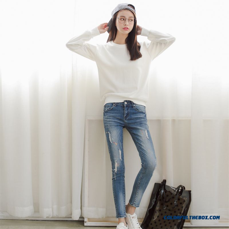 Navy Blue Jeans Slim Thin Pencil Pants Thin Section Paint Point Retro Crop Jeans Jeans Sexy