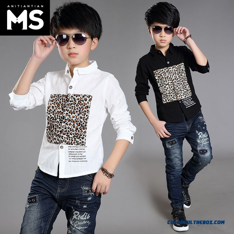 New 2015 Boys Kids Long-sleeved Leopard Patten Shirt Bottoming Shirt 10-12-13-15 Years Old - more images 1