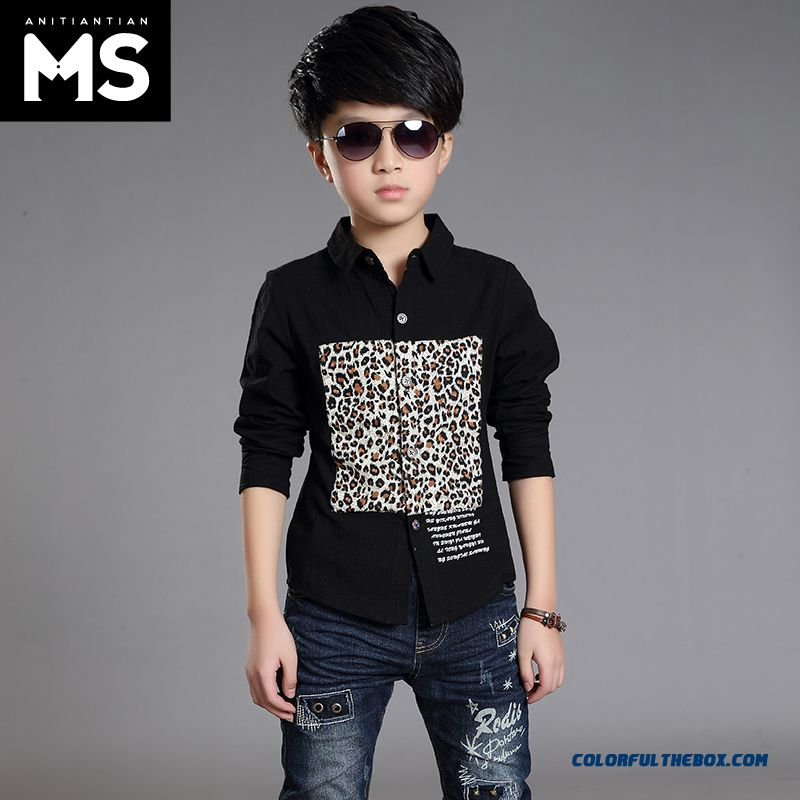 New 2015 Boys Kids Long-sleeved Leopard Patten Shirt Bottoming Shirt 10-12-13-15 Years Old - more images 3