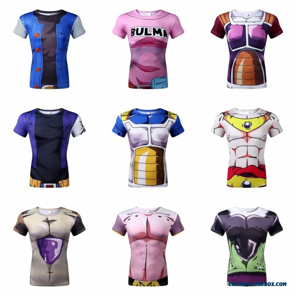 New 2016 Men, Women, Animation 3d Tight Short Sleeve T-shirt Classic Anime Dragon Ball Z Super Saiyan 3d T Shirt Tees Tops
