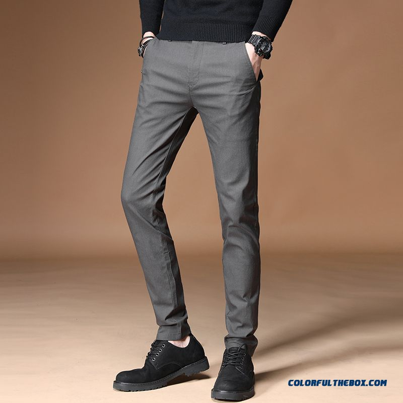 New 2019 Spring Pants Gray Europe Men's Breathable Slim Trend Leisure Summer Straight