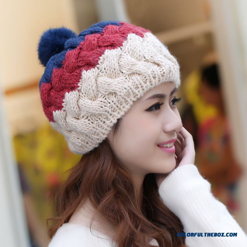 New Accessories Cute Rabbit Fur Ball Wool Cap Stylish Warm Knitted Hats Handmade Ear Protection Function