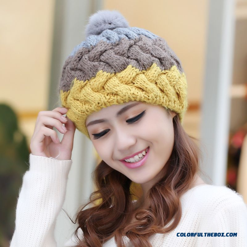 ... New Accessories Cute Rabbit Fur Ball Wool Cap Stylish Warm Knitted Hats  Handmade Ear Protection Function ... e103bdb550a