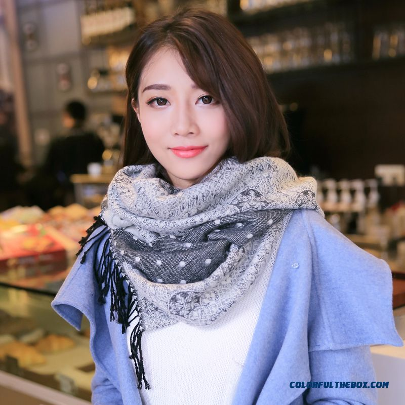 New Arrival Accessories Women Air Conditioning Thick Wool Knit Sweet Lace Jacquard Polka Dot Scarf