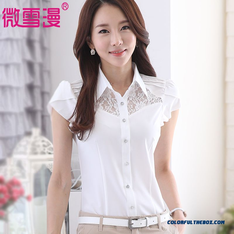 New Arrival Fashion Women's Short Sleeve Shirt Chiffon Lace White