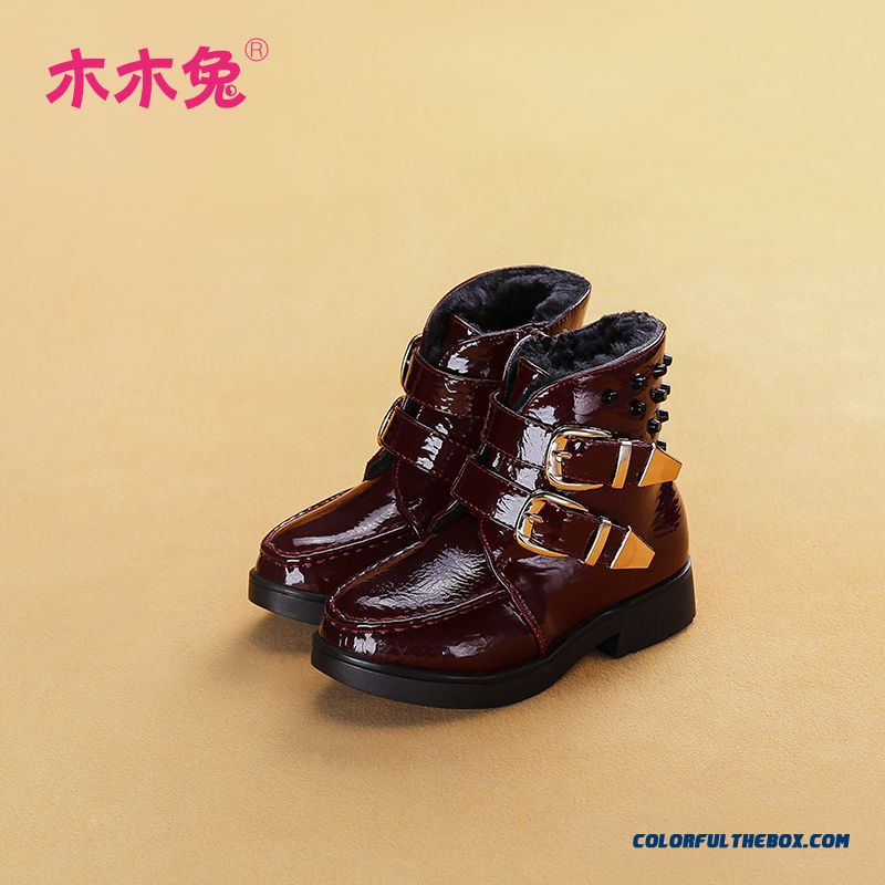 New Arrival Korean Style Children Boys And Girls Rivets Martin Boots Cotton Boots Winter Shoes For Kids