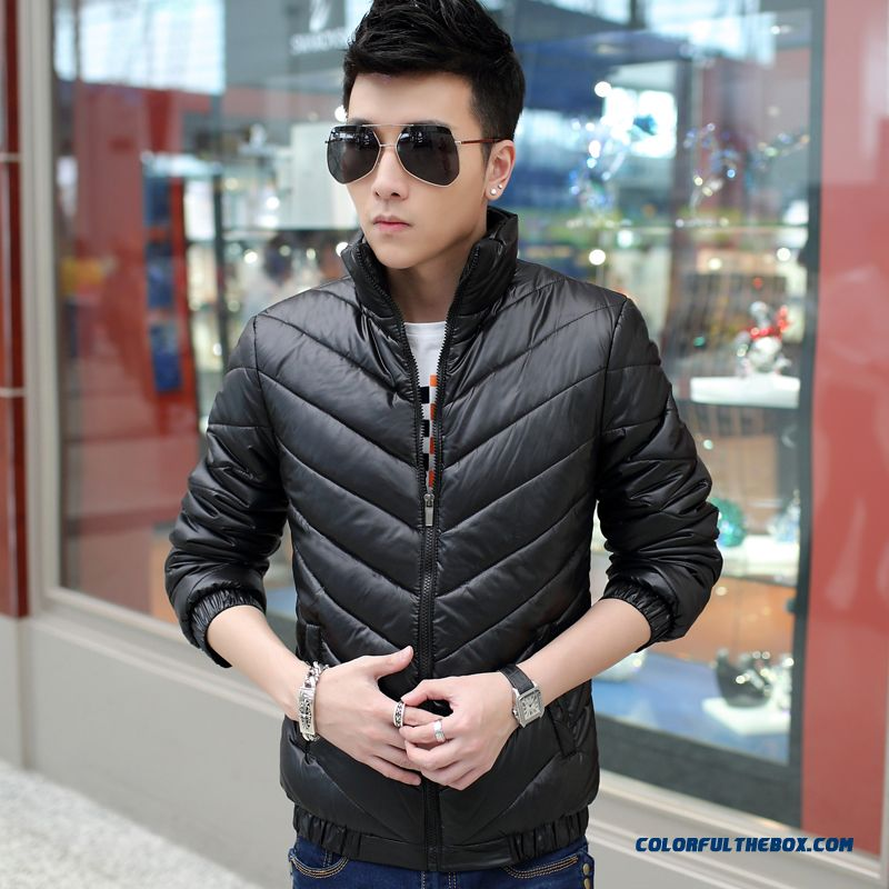 New Arrival Men Coats Thicken Black Winter Warm Cotton-padded Jacket Promotion