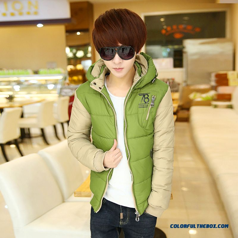 New Arrival Men Coats Thicken Hooded Green White Blue Down Jacket Top Sale