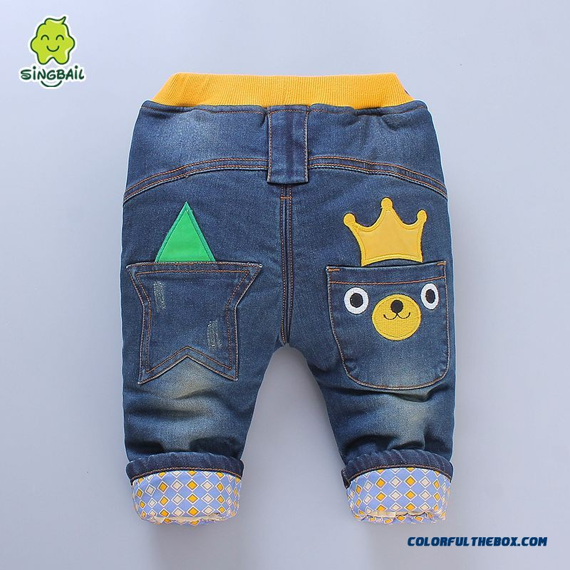 New Arrival Plus Thick Velvet Long Pants Baby Warm Jeans Romantic Winter Warmth Kids Clothing