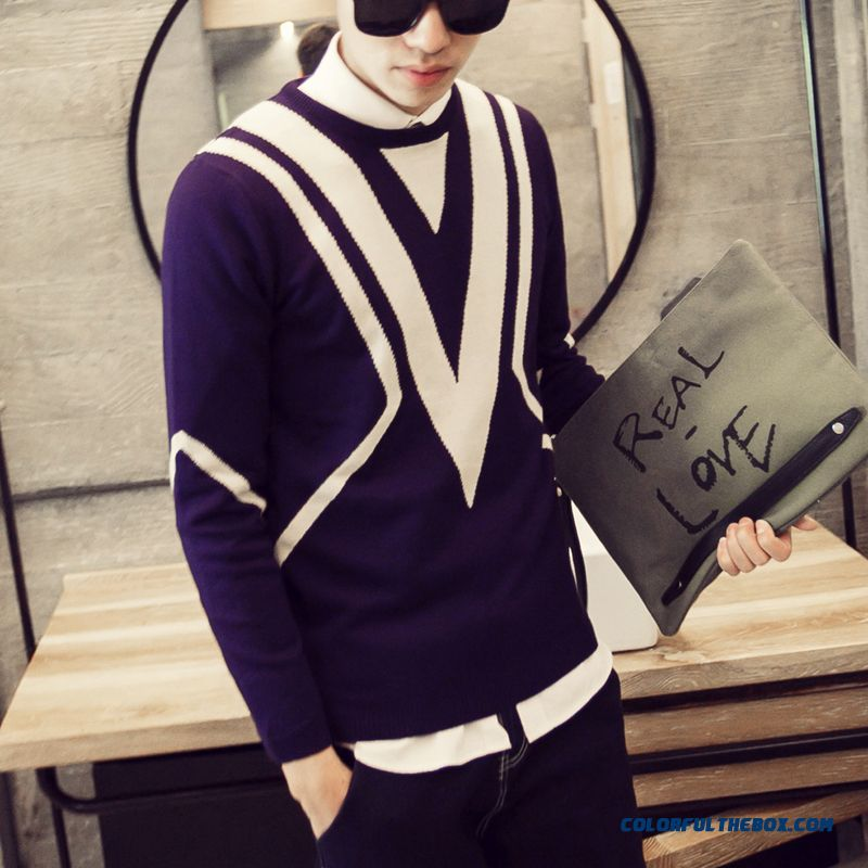 New Arrival Pullover Knitwear Sweaters Bottoming Shirt Triangle Printing Men Clothing