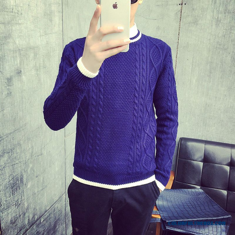 New Arrival Slim Thick Sweaters Knitwear Long Sleeve Blue Crew Neck Men