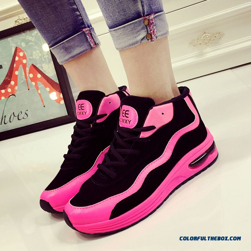 New Arrival Thick Bottom Sports Casual Shoes Pink And Black For Womern