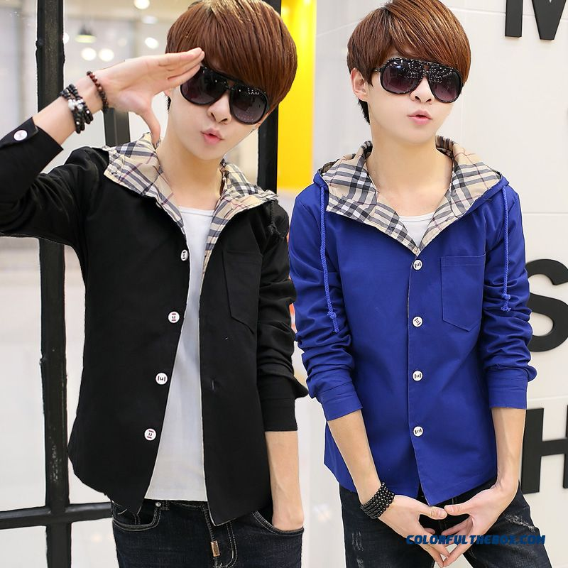 New Arrival Top Sale New Spring Men Hooded Jacket Black Blue Casual Young