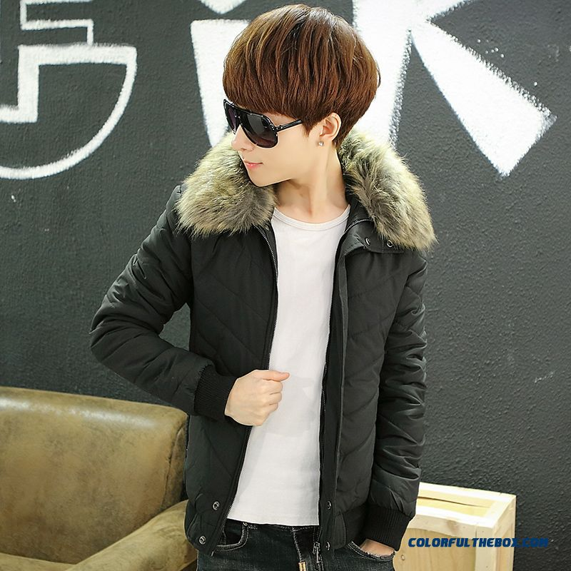 New Arrival Winter Men Hooded Coats Slim Fur Collar Black Newest Style