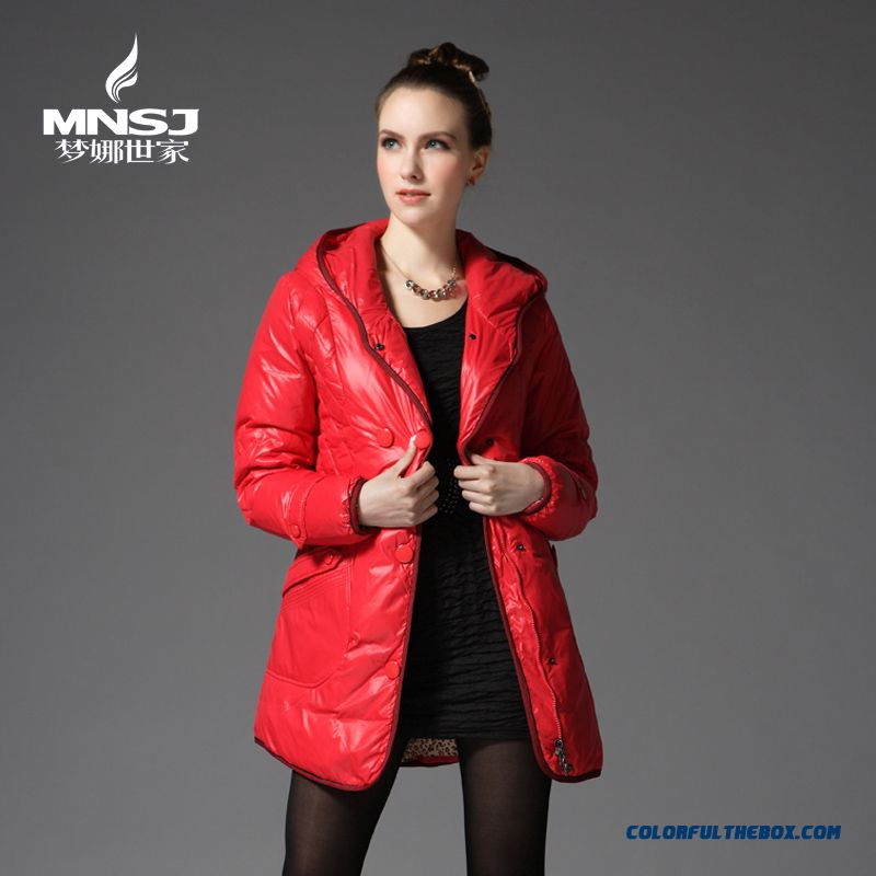 New Arrival Winter Women Coat With Hooded Red Medium Style Soldes