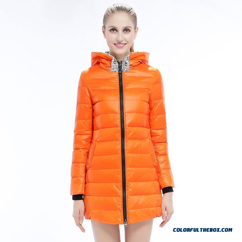 New Arrival Winter Women Hooded Coat Medium Style Orange Yellow Black Mode