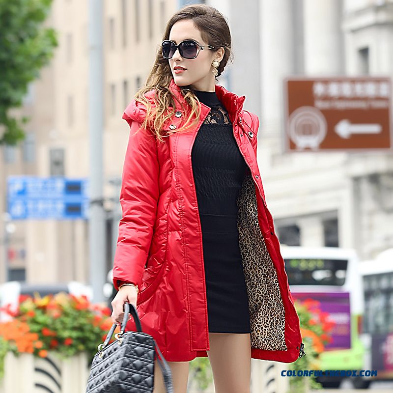 New Arrival Winter Women Hooded Coat Red Medium Style Warm Frees Hipping