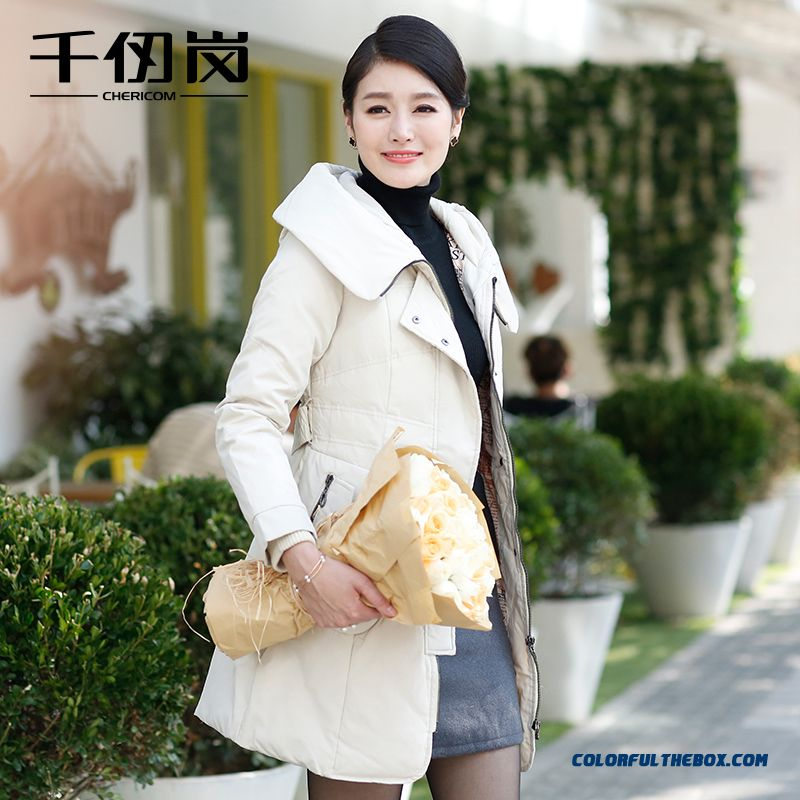 New Arrival Winter Women Hooded Coats Slim Warm Lapel White Medium Style