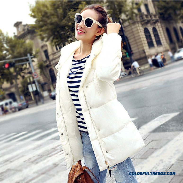 New Arrival Winter Women Hooded Coats Thin Slim Black White Grey Soldes