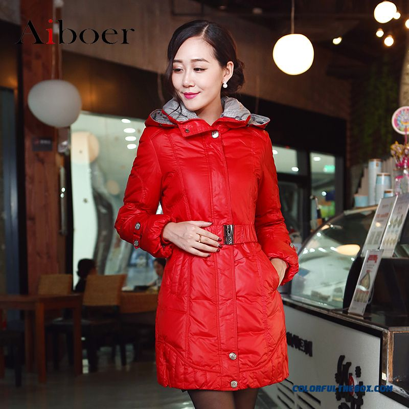New Arrival Women Coats Mode Slim Upscale Elegant Red Medium Style Down Jacket