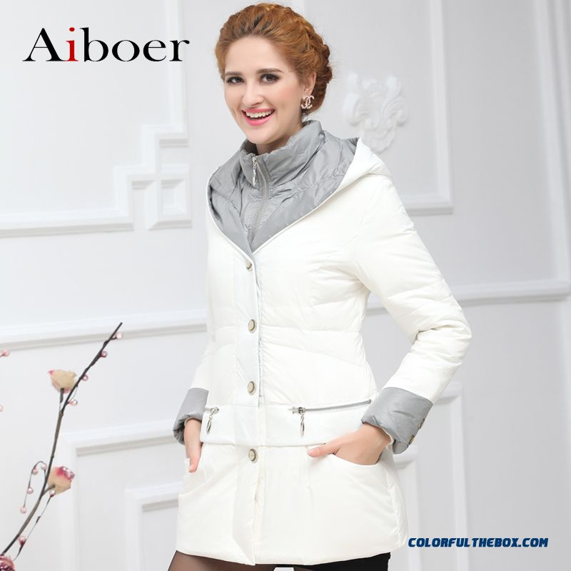 New Arrival Women Coats Mode Slim White Upscale Thicken Elegant Medium Style