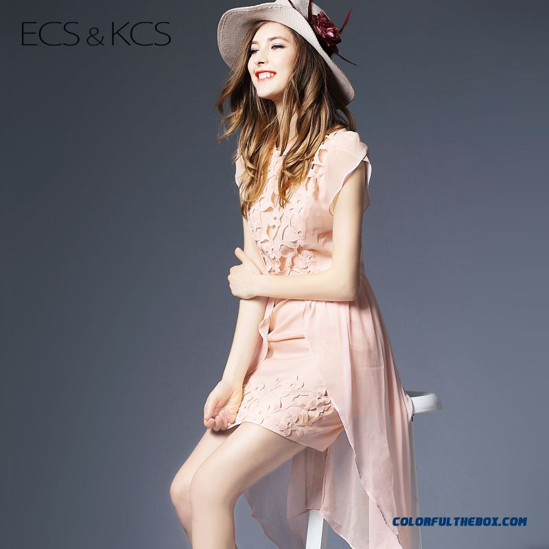 New Arrival Women Irregular Dress Openwork Chiffon Slim Lace Summer