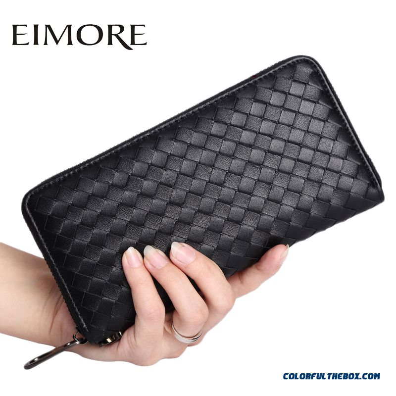New Arrival Women Long Section Of Women Models Wallet Zipper Weaving Women's Genuine Leather Clutch Bags