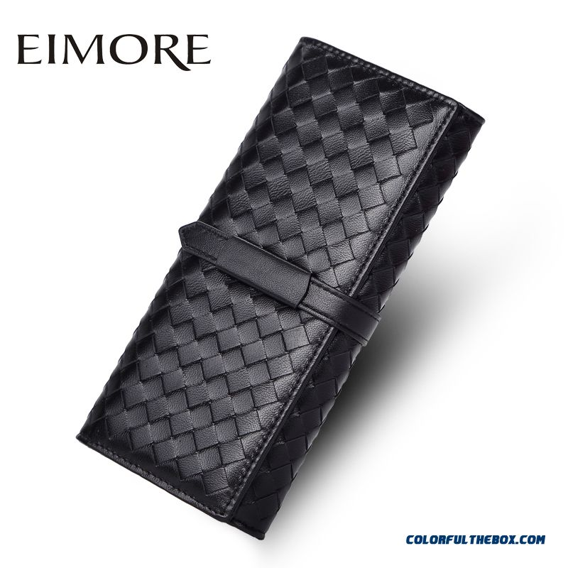 New Arrival Women Wallet Long Section Weave Thin Wallet Genuine Leather Women Models Clutch Bag