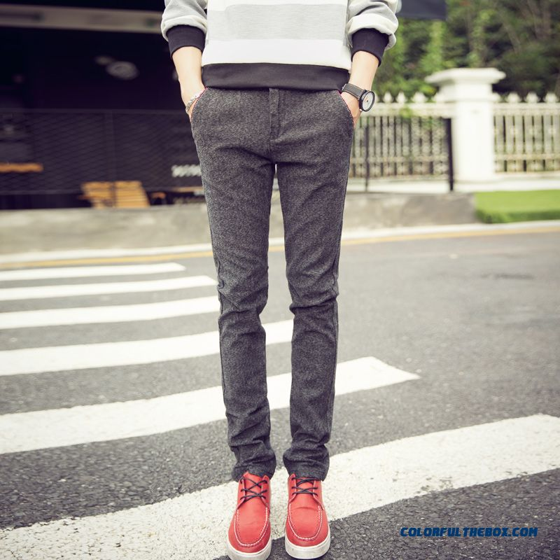 New Autumn And Winter Fashion Linen Straight Slim Casual Men Pants Special Offer Free Shipping - more images 1