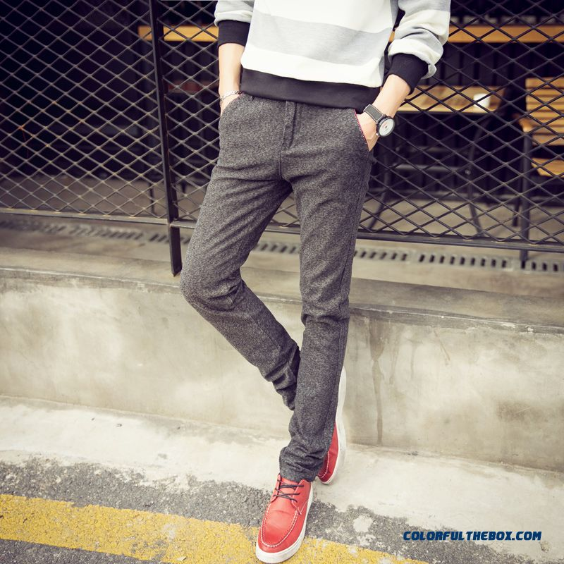 New Autumn And Winter Fashion Linen Straight Slim Casual Men Pants Special Offer Free Shipping - more images 4