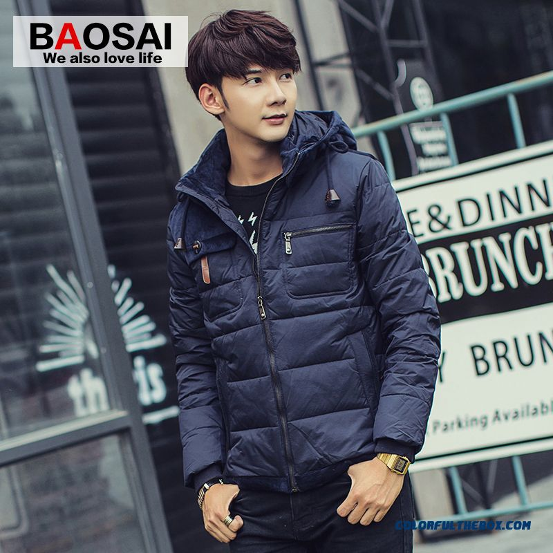New Autumn And Winter High Quality Men Down Jacket Thin Slim Hooded Short