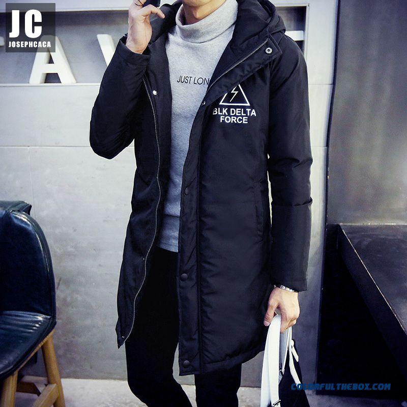 New Autumn And Winter High Quality Men Hooded Coats Black Skim Medium Style Thicken