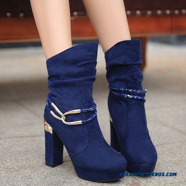 New Autumn And Winter High-heeled Women's Boots Short Thick Bottom Waterproof