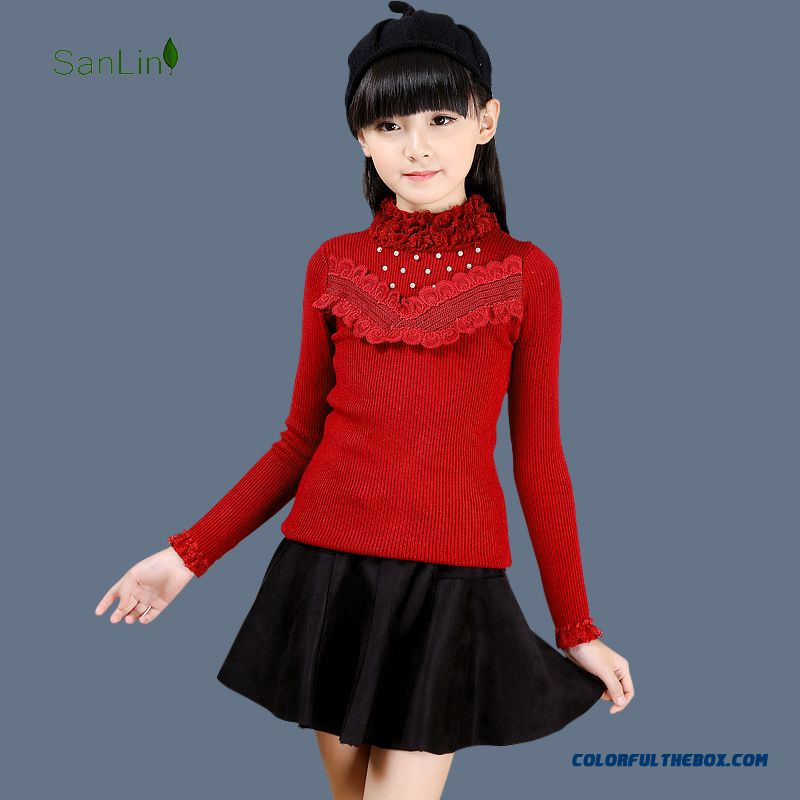 New Autumn And Winter Knit Sweater Bottoming Shirt Big Kids Princess Lace Long-sleeved Pullover Pearl Sweaters For Girls