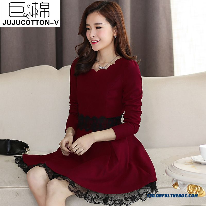 New Autumn And Winter Lace Long-sleeved Woolen Women Dress Thin