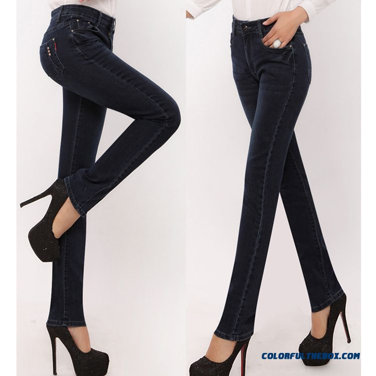 New Autumn And Winter Large Size Women Clothing Fashion Thin Elastic Straight Jeans Pants
